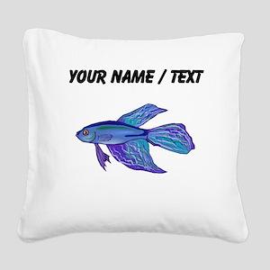 Custom Blue Betta Fish Square Canvas Pillow