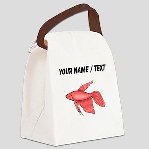 Custom Pink Betta Fish Canvas Lunch Bag