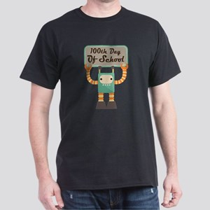 100th Day Of School robot Dark T-Shirt
