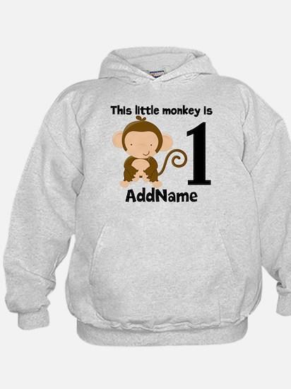 1st Birthday Monkey Personalized Hoodie