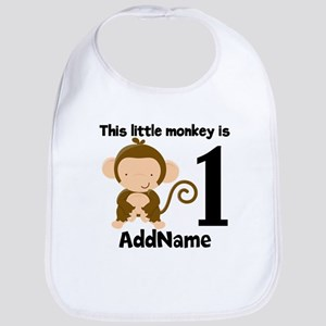 1st Birthday Monkey Personalized Bib