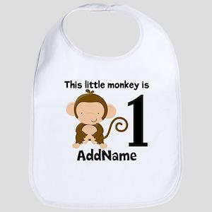 1st Birthday Monkey Personalized Bib