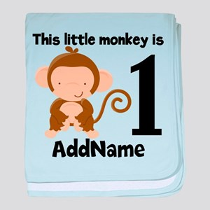 1st Birthday Monkey Personalized baby blanket