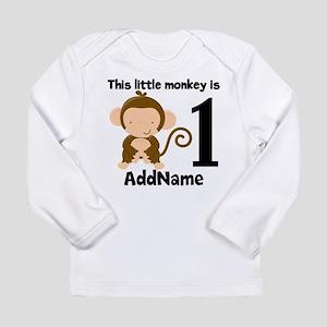 1st Birthday Monkey Personalized Long Sleeve T-Shi