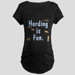 Herding Fun Maternity Dark T-Shirt