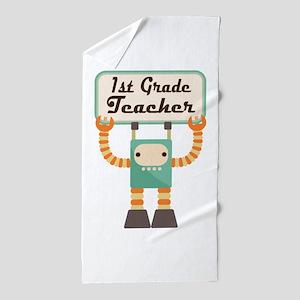 1st Grade Teacher retro Beach Towel