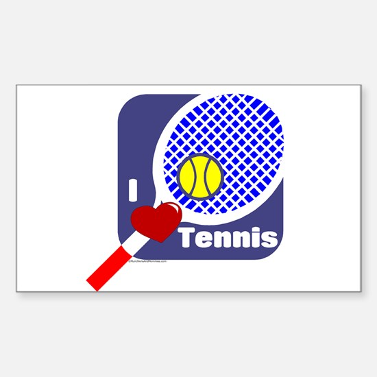 I Love Tennis Rectangle Decal