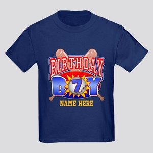 Baseball 7th Birthday Kids Dark T-Shirt