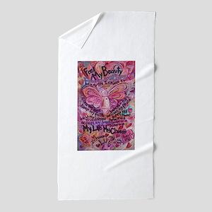 Pink Cancer Angel Beach Towel