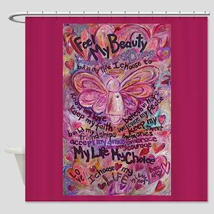 Pink Cancer Angel Shower Curtain