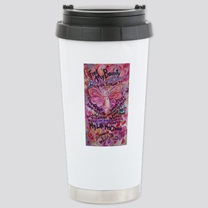 Pink Cancer Angel Stainless Steel Travel Mug