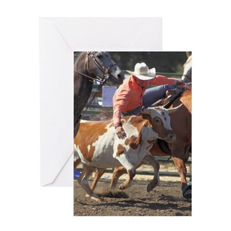 Bulldogging Steer Wrestling Rodeo Action Greeting