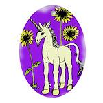 Sunflower Unicorn Oval Ornament