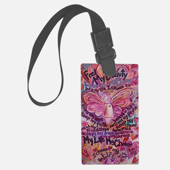 Pink Cancer Angel Luggage Tag