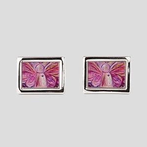 Pink Cancer Angel Rectangular Cufflinks