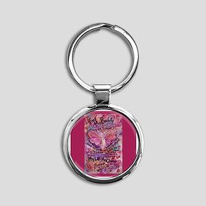 Pink Cancer Angel Round Keychain