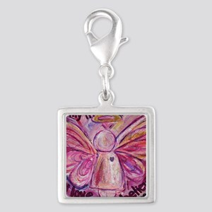 Pink Cancer Angel Silver Square Charm