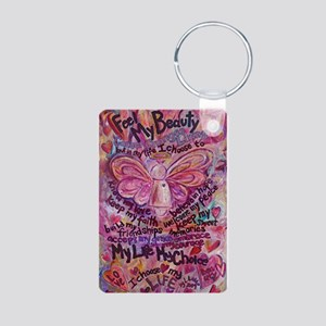 Pink Cancer Angel Aluminum Photo Keychain