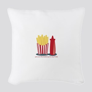 Ketchup To My Fries Woven Throw Pillow