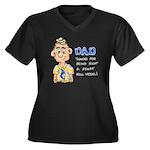 Father's Day Women's Plus Size V-Neck Dark T-Shir