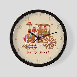 Gingerbread Christmas Train Wall Clock