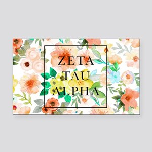 Zeta Tau Alpha Floral FB Rectangle Car Magnet