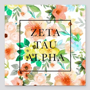 "Zeta Tau Alpha Floral FB Square Car Magnet 3"" x 3"""