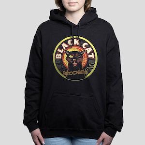 Black Cat Records Lp Art Women's Hooded Sweatshirt