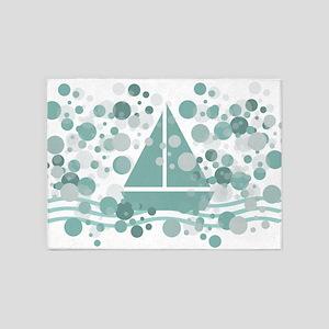 Nautical Sailboat Sea Dots 5'x7'area Rug