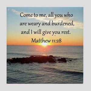 MATTHEW 11:28 Tile Coaster
