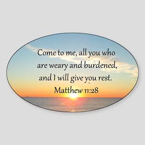 MATTHEW 11:28 Sticker (Oval 10 pk)
