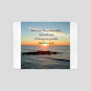 MATTHEW 19:26 5'x7'Area Rug