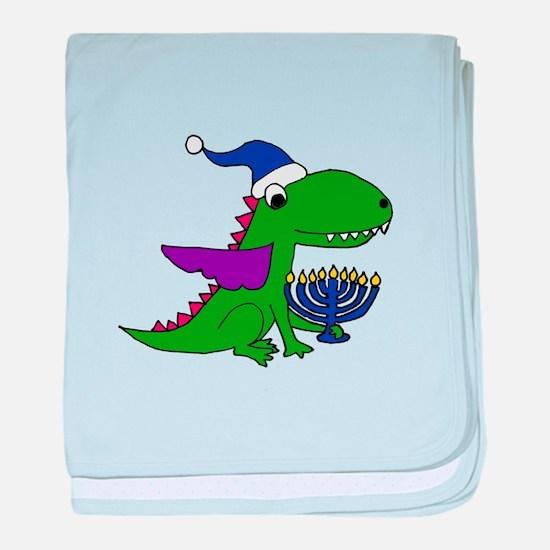 Funny Dragon with Menorah Hanukkah Ar baby blanket