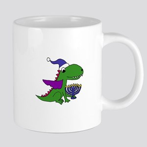 Funny Dragon with Menorah Hanukkah Art Mugs
