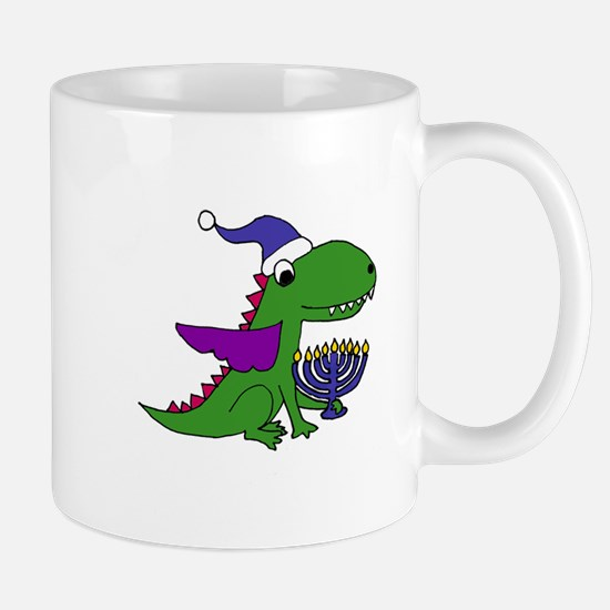 Funny Dragon with Menorah Hanukkah Art Mugs