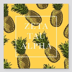 "Zeta Tau Alpha Pinapples Square Car Magnet 3"" x 3"""