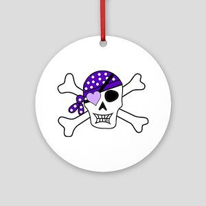 Purple Pirate Crossbones Ornament (Round)