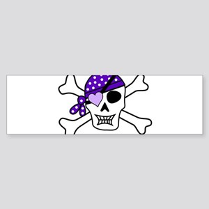 Purple Pirate Crossbones Bumper Sticker