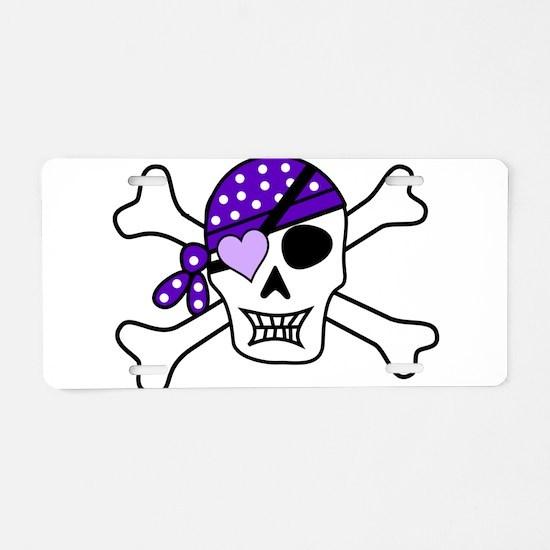 Purple Pirate Crossbones Aluminum License Plate
