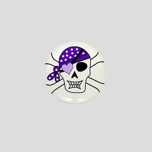 Purple Pirate Crossbones Mini Button