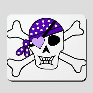 Purple Pirate Crossbones Mousepad