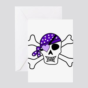 Purple Pirate Crossbones Greeting Cards