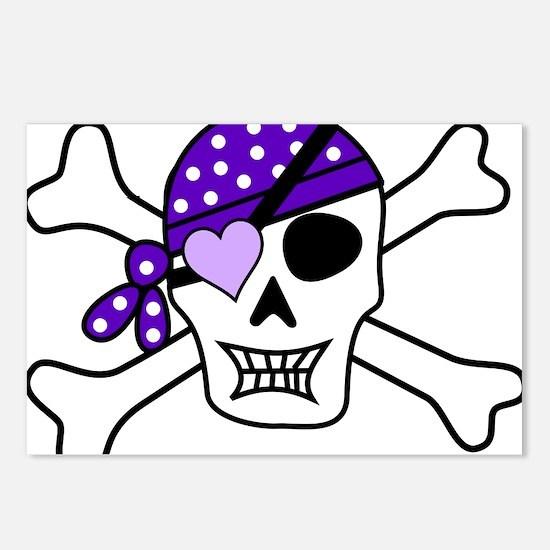 Purple Pirate Crossbones Postcards (Package of 8)