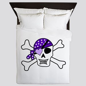 Purple Pirate Crossbones Queen Duvet
