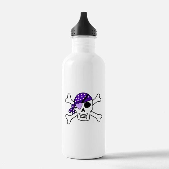 Purple Pirate Crossbones Water Bottle
