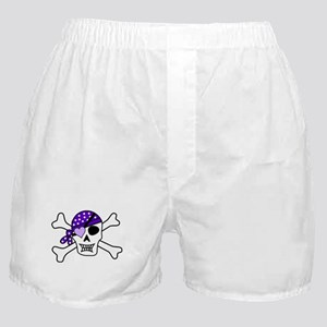 Purple Pirate Crossbones Boxer Shorts