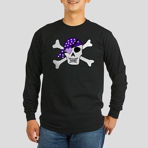 Purple Pirate Crossbones Long Sleeve T-Shirt
