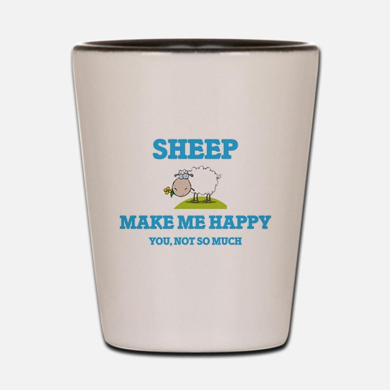 Sheep Make Me Happy Shot Glass