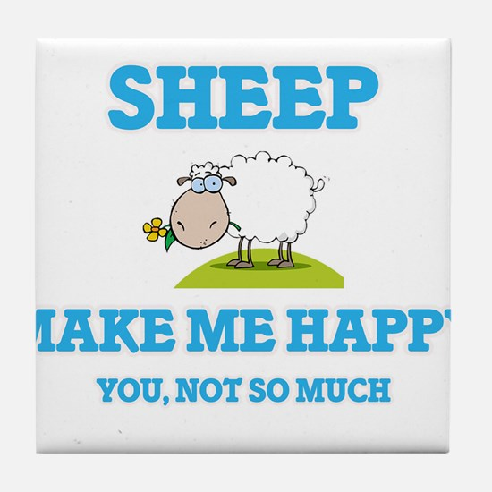 Sheep Make Me Happy Tile Coaster