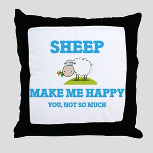 Sheep Make Me Happy Throw Pillow